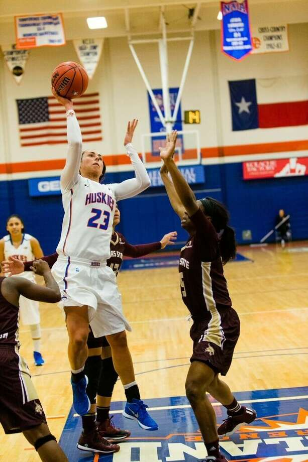 The Woodlands High School graduate Anna Strickland amassed 20 points and 12 rebounds to lead Houston Baptist University to a 96-65 victory against Huston-Tillotson. Photo: HBU Athletics