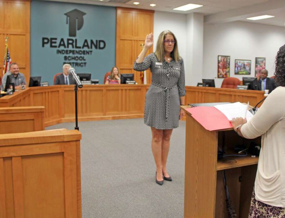 At a special meeting held Tuesday, July 19, former Pearland ISD Trustee Pam Boegler was sworn in to serve as replacement for board member Virgil Gant, who was killed in a tragic truck accident on June 24. The Pearland ISD School Board voted to appoint Boegler to serve in the position until the next trustee election in May. Photo: Kristi Nix