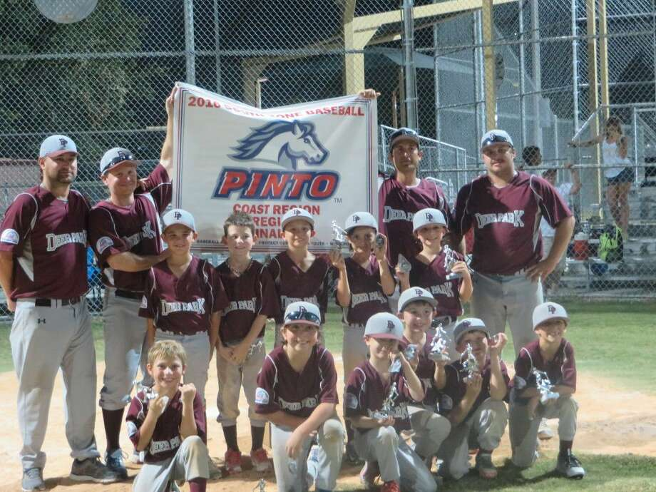 The Deer Park Pinto All-Stars pose around their newly-captured banner from the Coast Region Tournament that the city hosted earlier this month. Pictured top row L-R: Coaches George Nowlin, Alan Hardin, Paul Perez and Weston Smith. (Second row) Rome Gatlin, Kaleb Nowlin, Owen Watkins, Spencer Perez and Donovan Wagers. (Bottom row) Cayson Smith, Josh McKnight, Landin Hardin, Cayne Esparza, Aiden Englishbee and Blake Dushman. Photo: Courtesy