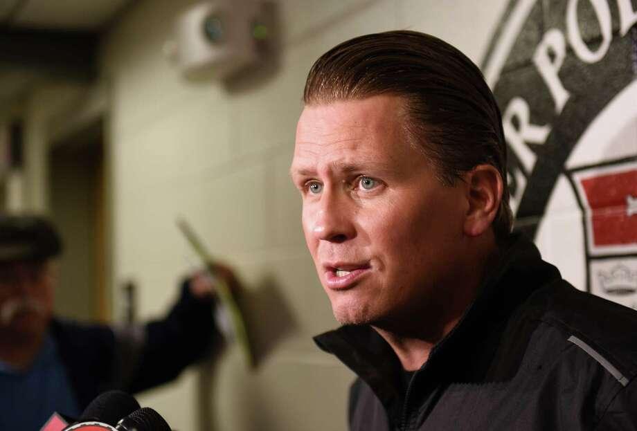 Head coach Seth Appert talks to the press during Rensselaer Polytechnic Institute's annual hockey media day at Houston Field House on Tuesday, Oct. 4, 2016 in Troy, N.Y.  (Lori Van Buren / Times Union) Photo: Lori Van Buren / 40038256A