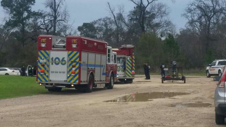 The Woodlands Fire Department and Harris County Sheriff's Detectives on location where human remains were found Wednesday.