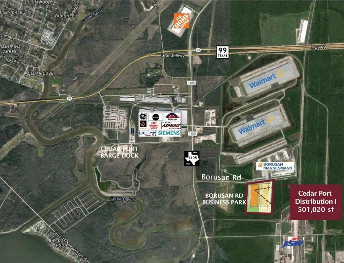 Aerial map of Cedar Port. Clay Development & Construction will begin construction on the first of three 500,000-square-foot industrial buildings in Baytown in January.