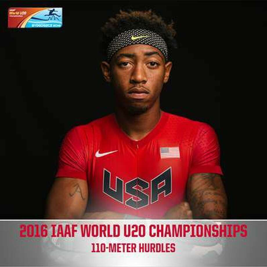 Marshall graduate and University of Houston hurdler Amere Lattin finished the 110-meter hurdles in 13.30 seconds to win the silver medal at the IAAF World U20 Championships in Bydgoszcz, Poland. Photo: UH Athletics Media Relations