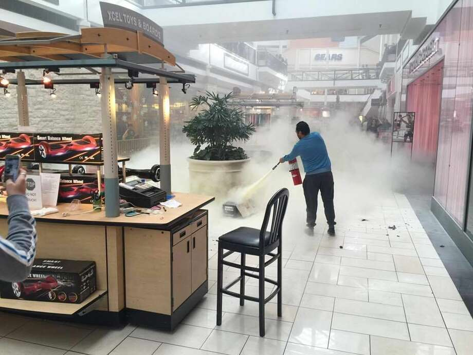 Cleveland attorney Donny Haltom took this photo of a fire today in the Deerbrook Mall in Humble. Photo: Photo Courtesy Of Donny Haltom