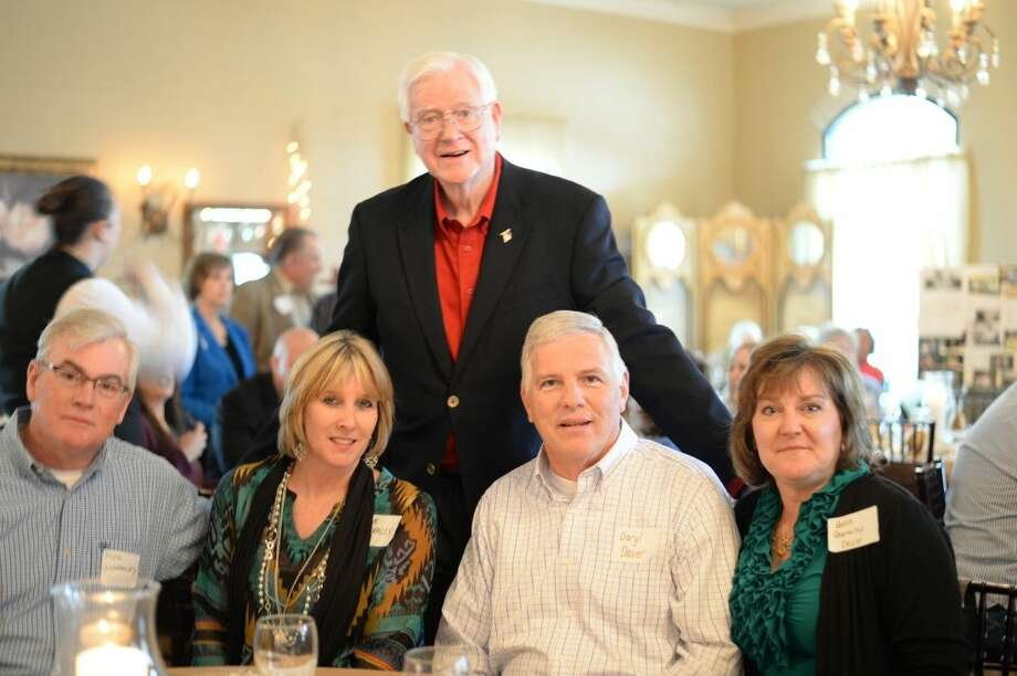 Cecil Ghormley, here with family members, celebrated his 80th birthday Sunday with friends at the Golden Acres reception hall.