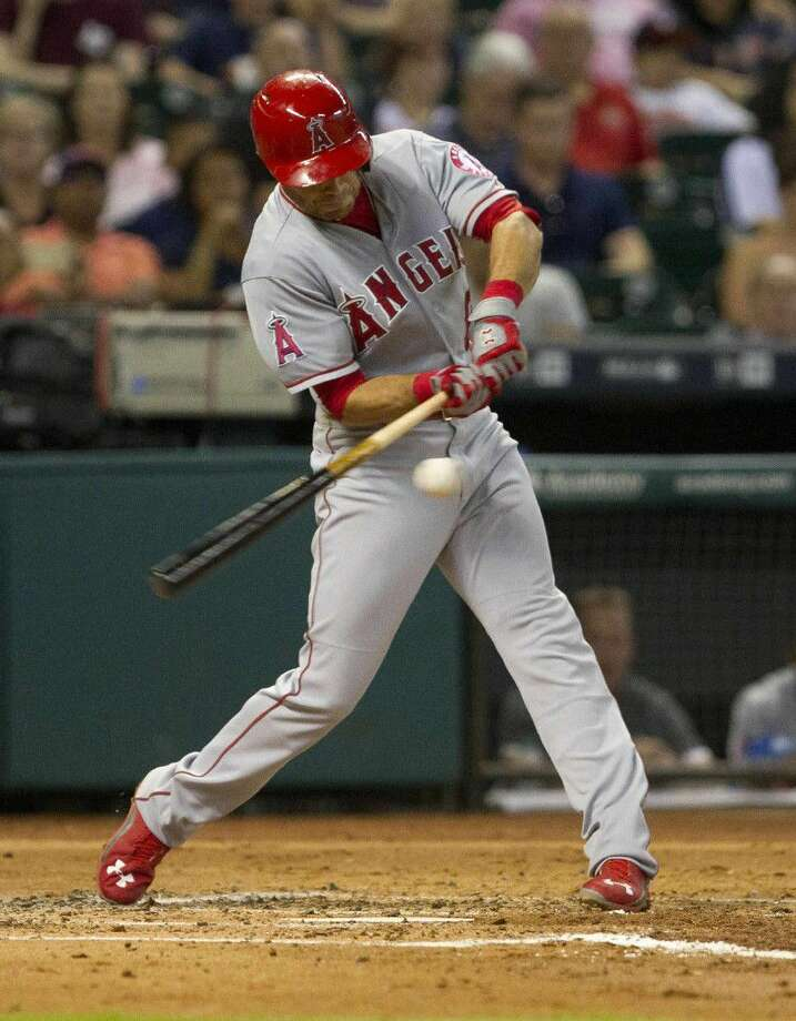 Katy Taylor graduate Taylor Featherston, pictured playing for the Los Angeles Angels in 2015 at Minute Maid Park, has 12 home runs in 85 games at Lehigh Valley, the Philadelphia Phillies' Triple-A affiliate. Photo: Jason Fochtman
