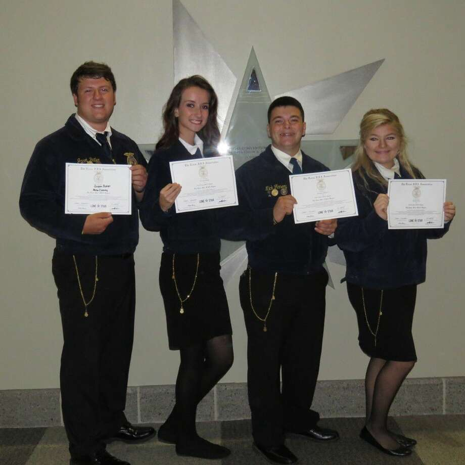 Jordan Butler, Allison Cain, Nick Flanery, Arianna Grupe and Coty Tippit of the New Caney FFA Chapter were awarded the Lone Star FFA Degree.