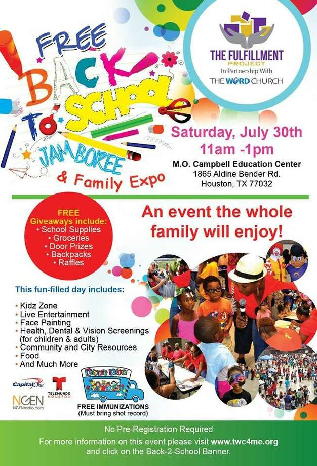 The Word Church and The Fulfillment Project partner will hold its annual Back-2-School Jamboree in North Houston on Saturday, July 30 from 11 a.m. until 1 p.m. at the M.O. Campbell Education Center. 1865 Aldine Bender Houston.
