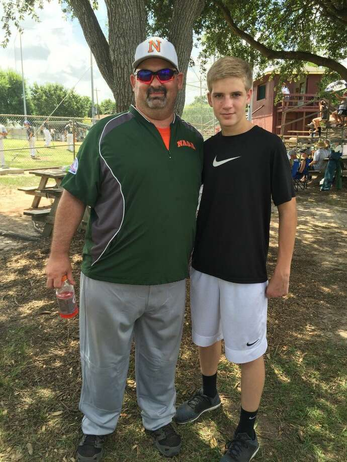 Deer Park baseball player Zach Frazee meets the man who saved his life on the night of July 1. With Zach's heart stopped after a baseball hit him in the chest, coach Don Sweeney used his CPR training to get his heart beating again. Photo: Courtesy Photo