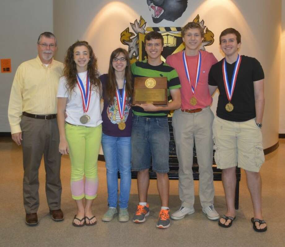 Liberty High School's Literacy Criticism team, coached by Randy Gunter, includes seniors Michael Seay and Evelyn Brady, juniors Hudson Standish and Weston Russell (alternate), and sophomore Camilla Brady. Photo: Submitted Photo