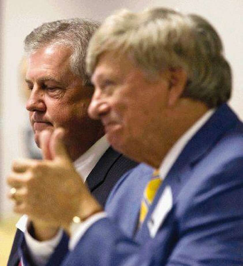 Houston defense attorney Rusty Hardin, right, gives a thumbs up alongside Montgomery County Judge Craig Doyal before a State Commission on Judicial Conduct hearing Tuesday in Austin.