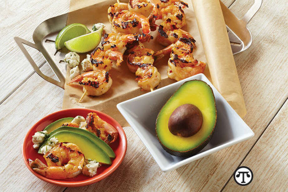 Try this delicious Chili and Honey Glazed Shrimp with California Avocado and Goat Cheese dish at your next summer party. (NAPS)
