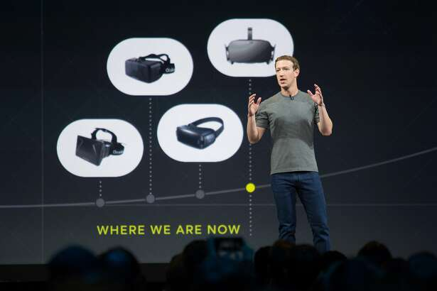 Mark Zuckerberg talks about the future of virtual reality during Oculus Connect 3, on Thursday, Oct. 6, 2016 in San Jose, Calif. Oculus, a Facebook-owned company, held its third-annual developers conference at the San Jose McEnery Convention Center.