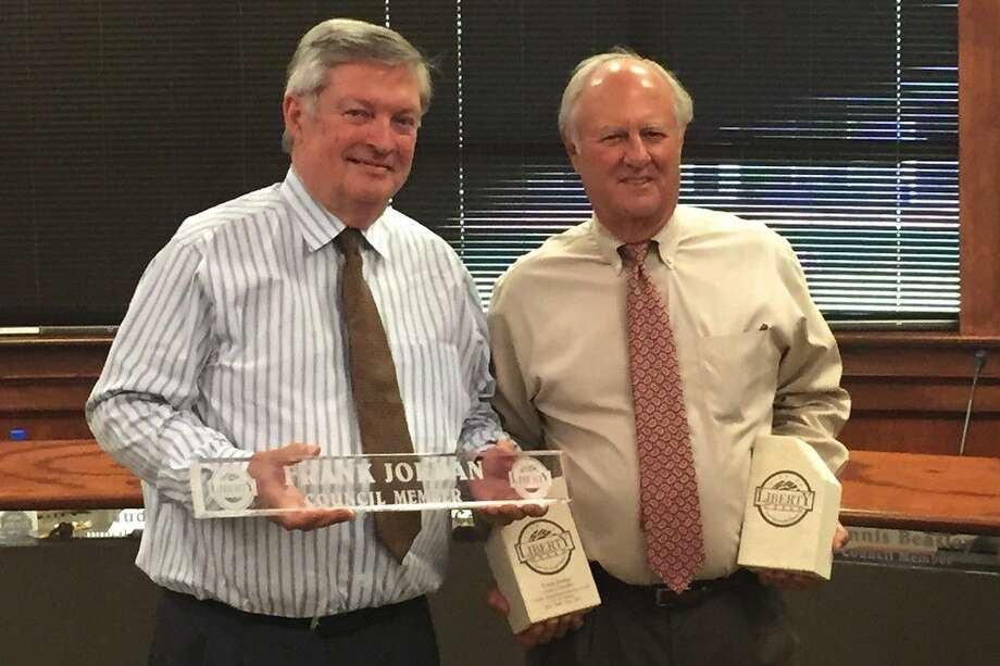 The Liberty City Council honored former councilman Frank Jordan on Tuesday, July 26, thanking him for his years of dedicated service. Jordan was presented with a set of City of Liberty bookends and his nameplate from the council table. Photo: Casey Stinnett
