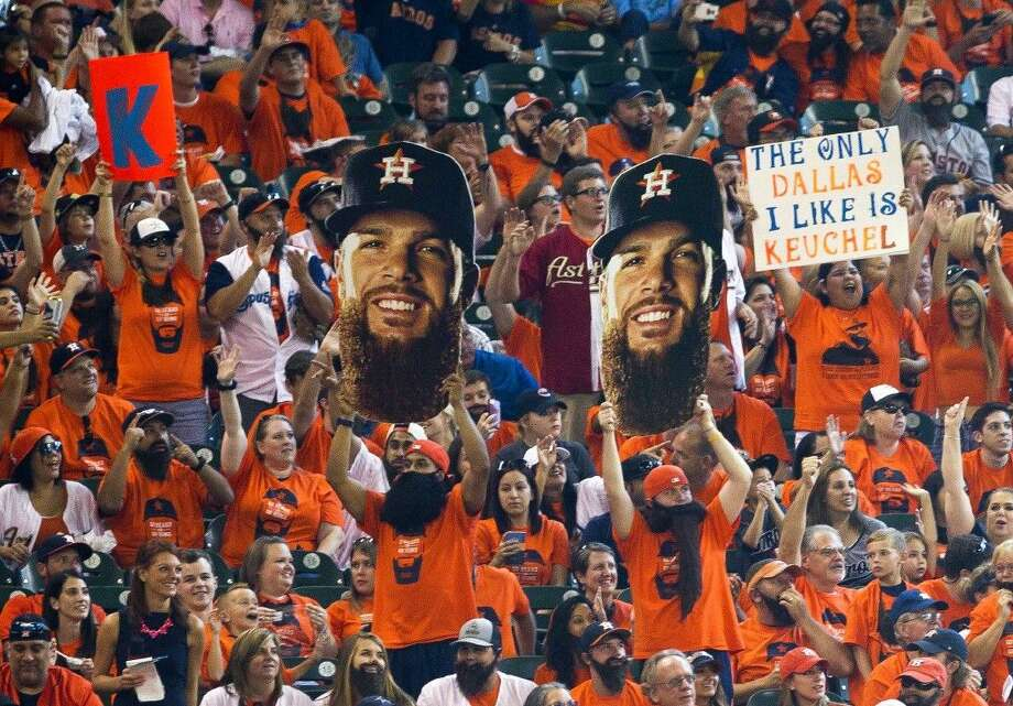 Fans cheer for pitcher Dallas Keuchel, who was named the American League Cy Young Award winner.