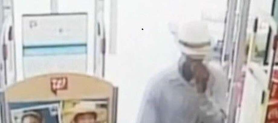 A surveillance photo shows the type of hat an armed robber was wearing when he entered the Walgreens in Cleveland Thursday afternoon. Photo: Submitted
