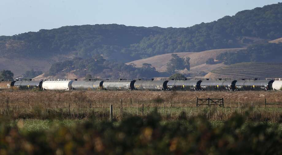 Railroad tanker cars for transporting hazardous petroleum products are parked on railroad tracks in Schellville, Calif. on Thursday, Oct. 6, 2016. The SMART transit system, which will begin commuter service soon, is concerned the cars are a safety hazard. Photo: Paul Chinn, The Chronicle