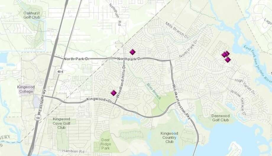 Burglaries in Kingwood as reported by the Houston Police Department for the period of March 28-April 3.