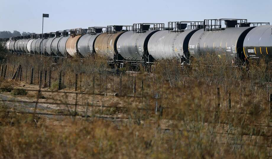 Tanker cars, most of them carrying liquefied petroleum gas, are parked on railroad tracks in Schellville, near Sonoma. Photo: Paul Chinn, The Chronicle