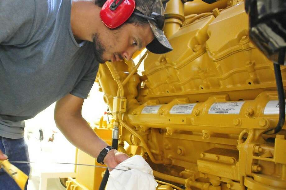 San Jacinto College maritime student Phillip Morales interned with Higman Marine last summer. Some of his duties included work in the vessel engine room. Photo credit: Jeannie Peng Mansyur, San Jacinto College marketing, public relations, and government affairs department.