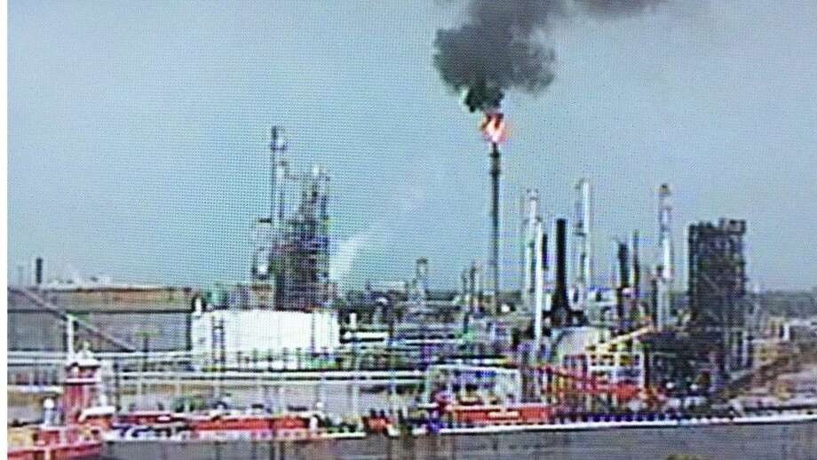Vessel Traffic Service Houston-Galveston view of plant burning off waste in Galena Park.