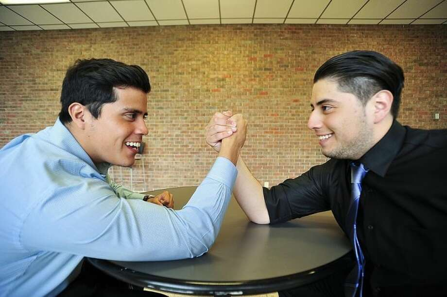 "San Jacinto College students Ramon Cordova (left) and Adan Beltran clashed on some creative ideas during production of their video ""Survalant,"" but learned to compromise to come up with solutions. Photo credit: Rob Vanya, San Jacinto College marketing, public relations, and government affairs department."