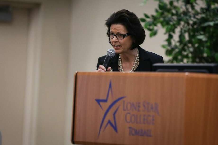 Keynote speaker Kathleen Jackson gives an update from the Texas Water Development Board during the Greater Tomball Area Chamber of Commerce's First Friday Networking Luncheon on Friday, May 2, 2014, at Lone Star College-Tomball. Photo: Michael Minasi