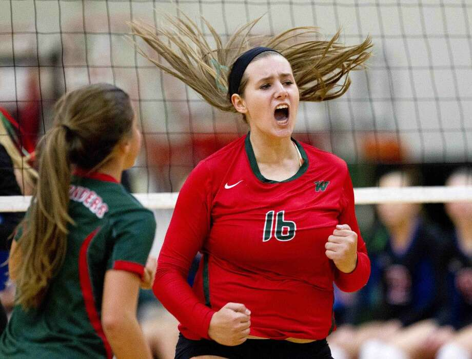 The Woodlands' AJ Koele celebrates a point during a volleyball game. To view or purchase this photo and others like it, visit HCNpics.com. Photo: Jason Fochtman