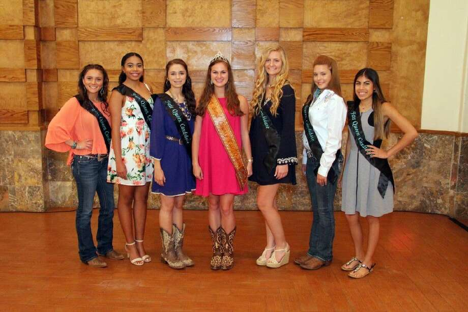 Pictured from left are Alyssa Flowers, Kennedy Paige Johnson, Megan Lepovitz, 2015 Fort Bend County Fair Queen Hannah Eicke, Katie Koerth, Samantha Sebesta, and Savannah Fernandez. Photo: Submitted Photo