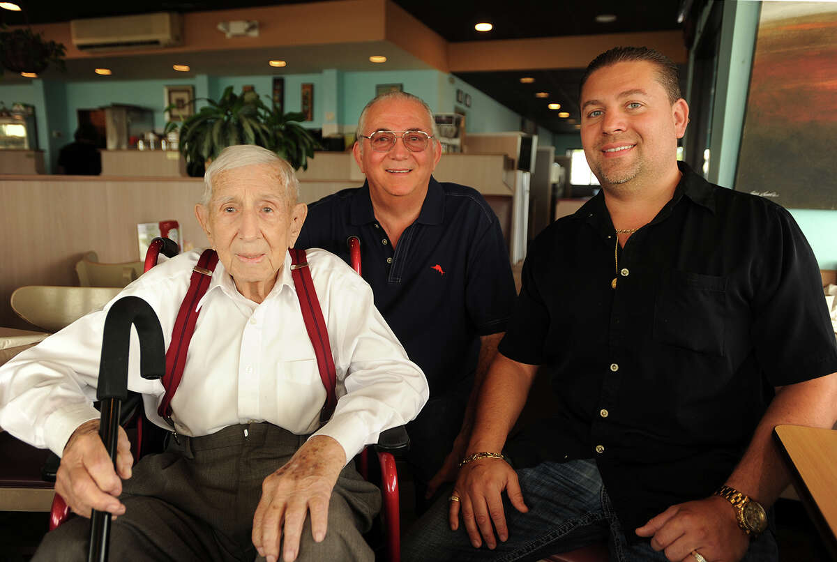 From left; Nick Quattone, Sr., Nick Quattone, Jr., and Nick Quattone III, three generations of the Quattone family, are celebrating Marnicks Restaurant's sixty years in business at 10 Washigton Parkway in Stratford, Conn. on Wednesday, September 21, 2016. Nick Quattone, Sr., who stared the restaurant, will turn 100 years old in December.