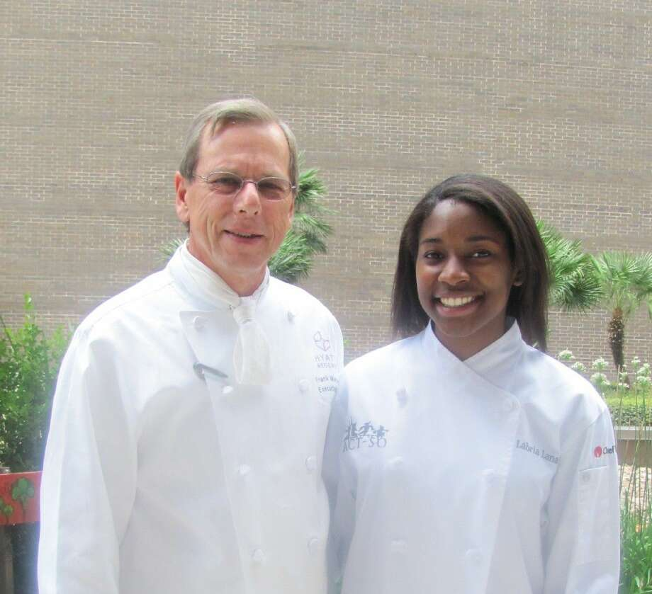Hyatt Regency Houston Executive Chef Frank Majowicz with 2016 ACT-SO National Culinary Champion Labria Lanaux of Spring. Photo: Submitted Photo