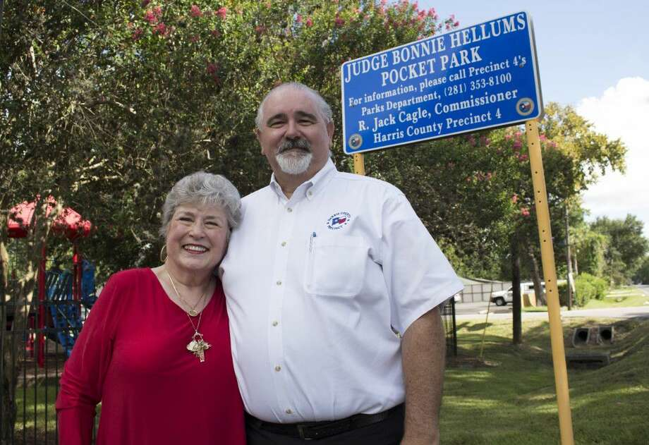 Commissioner R. Jack Cagle dedicates a Spring Branch pocket park in honor of Judge Bonnie Hellums. Photo: Submitted Photo