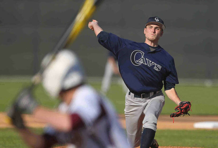 College Park's Montana Parson throws to a Deer Park batter during a high school baseball game at the Wing 'N More Classic Thursday. College Park defeated Deer Park 3-2. Photo: Jason Fochtman
