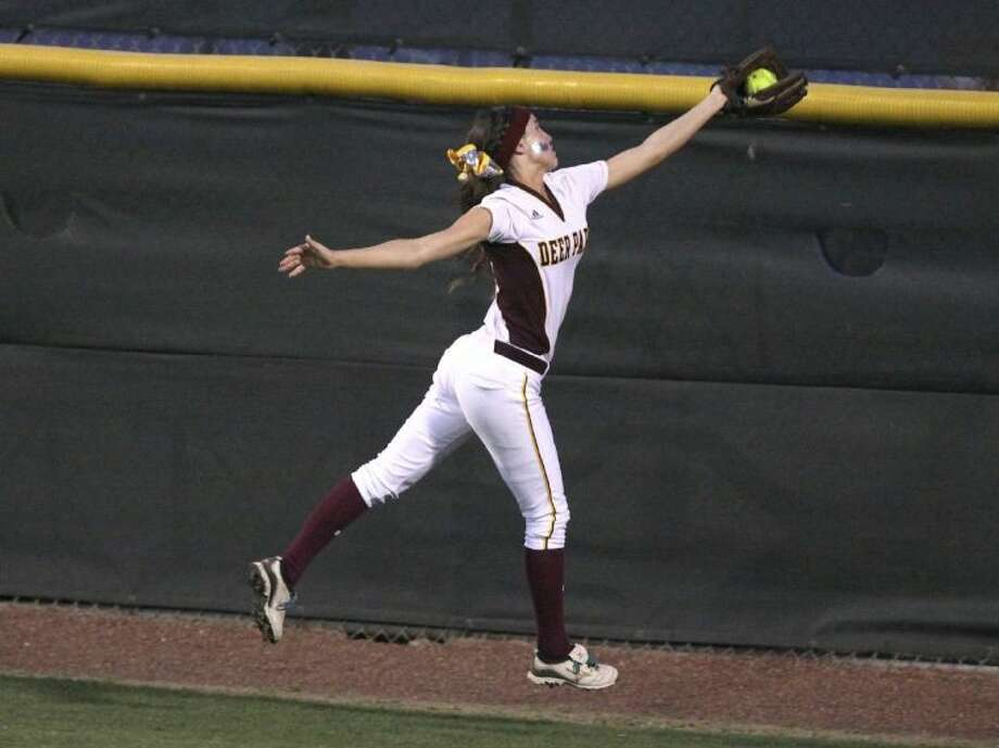 Devann Hebert's electrifying catch at the base of Cougar Field's center field fence during last year's postseason run hasn't been forgotten and now that the team is starting district, more defensive gems will be needed by the defense. Photo: Alan Webber