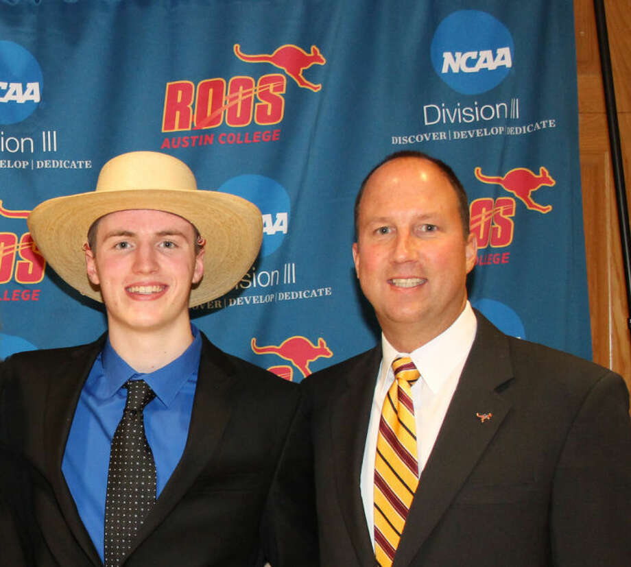 Brian Baehl, left, and his Austin College coachRodney Wecker, pose for a picture at the school'sAthletic Awards Convocation last week. Photo: Courtesy Photo