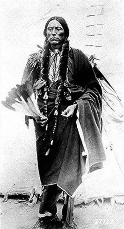 The Quanah and Cynthia Ann Parker traveling photo exhibit is coming to Liberty, Texas on Aug. 25. The Texas Lakes Trail Program is sending the exhibit around the state, and the Liberty County Historical Commission will have it on display in the lobby of the First Liberty National Bank, Aug. 25-Oct. 10. The photograph of Quanah Parker shown here is part of the collection held by the National Archives and Records Administration. Photo: Courtesy Of NARA