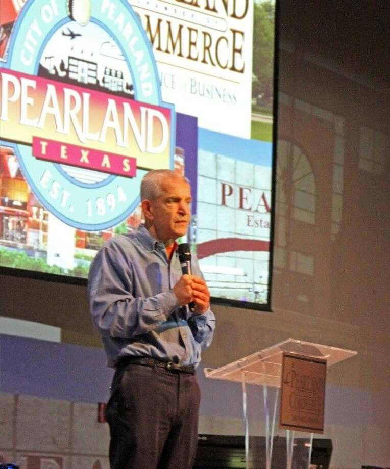 "Jim ""Mattress Mack"" McIngvale was the guest speaker at the Pearland Chamber of Commerce Monthly Membership Luncheon Thursday (Aug. 29). Photo: KRISTI NIX"