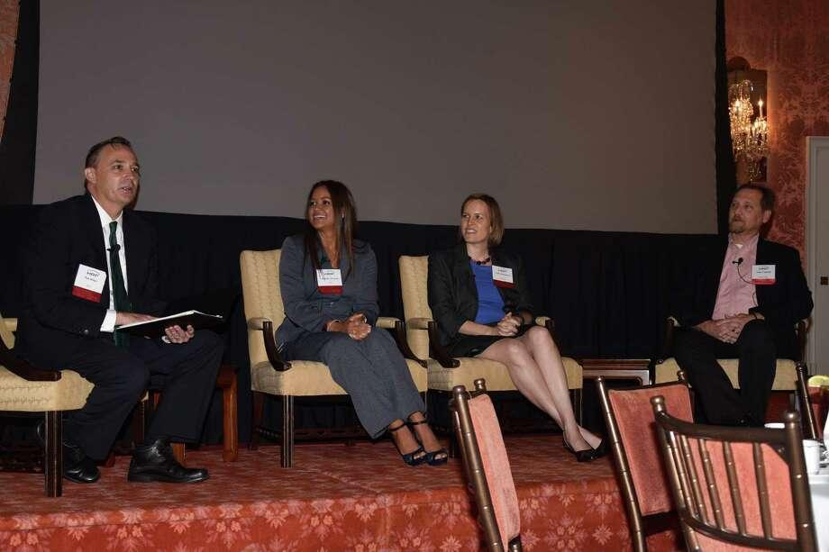 Dan Bolger, Marife Alvarez, Leslie Santamaria and John Cegelski attended a recent fall education event. Photo: Courtesy Of Michelle Sandlin