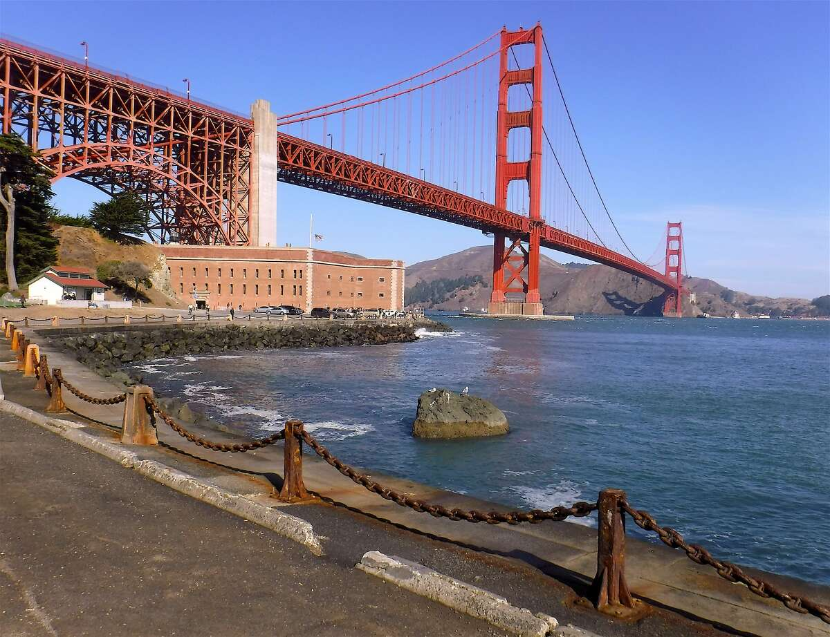 9. Golden Gate Bridge - San Francisco, Calif. The view from the entrance road to Fort Point at the foot of the Golden Gate Bridge gives a perfect view of the structure stretching toward Marin.