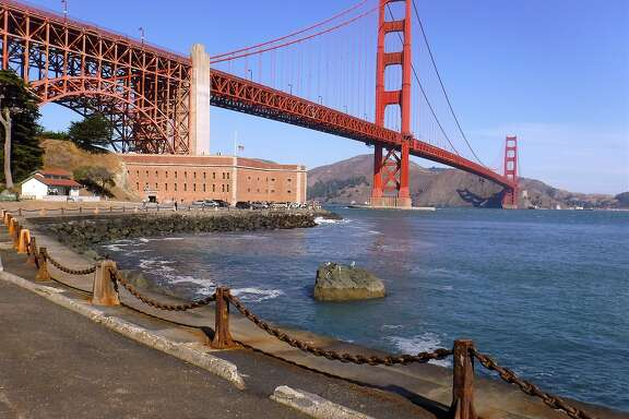 The view from the entrance road to Fort Point at the foot of the Golden Gate Bridge on the San Francisco shoreline