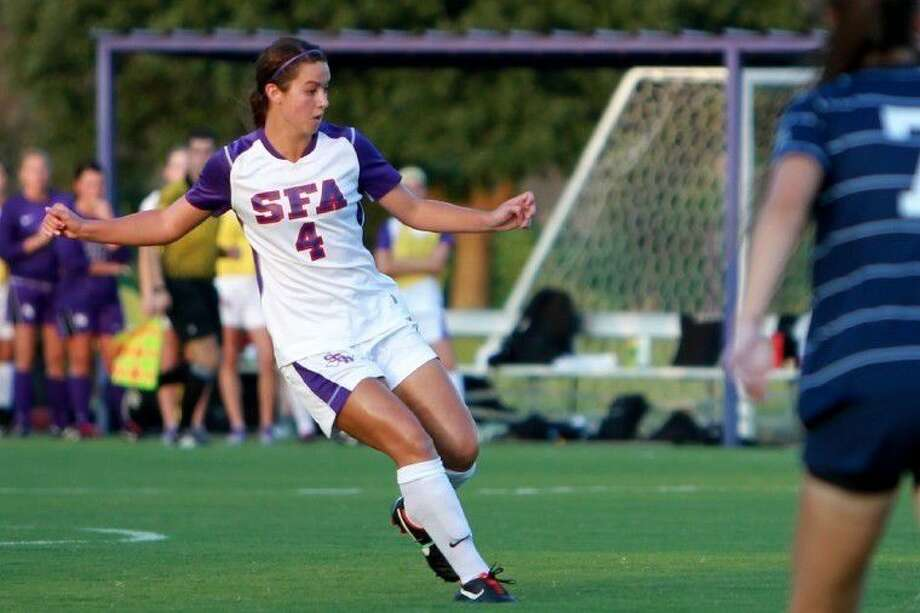 Former Memorial and Stephen F. Austin soccer player Rachel Owens is playing her first professional season this summer. She has played in all 10 league games for IA Akranes FC in Iceland. Photo: SFA Athletics Media Relations
