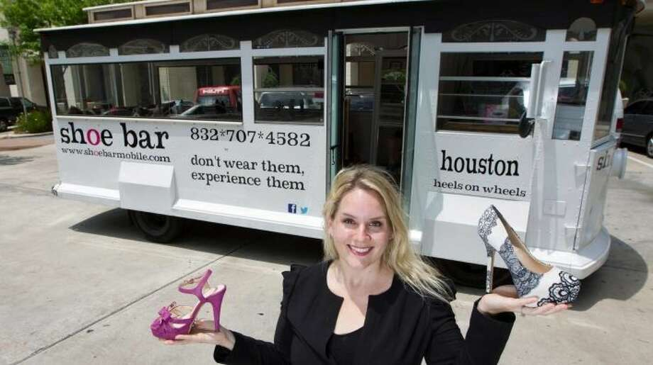 Courtesy photoCoryne Rich is pictured in front of her Shoe Bar. She travels to different events across Houston to offer shoe shopping opportunities to ladies on the go. You can book Shoe Bar for showers, bachelorette parties, charity events and pretty much anywhere ladies gather.