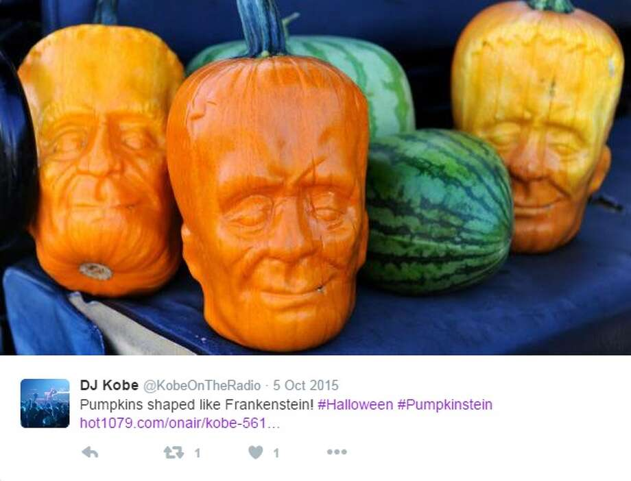 """Pumpkinsteins"" are pumpkins molded to look like Frankenstein. ""Pumpkinsteins"" were created by Tony Dighera, a farmer in California, in the year 2014. Photo: Courtesy/Twitter"