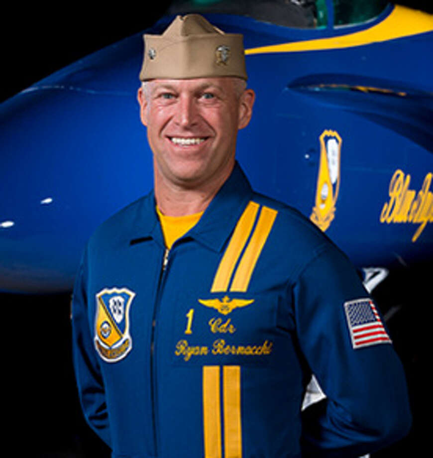 "CDR Ryan J. Bernacchi, Flight Leader/Commanding OfficerMember of the U.S. Navy Blue Angels since 2015 Background: Native of Los Altos, Calif.;  graduated from Mountain View High School in 1992, where he lettered in water polo and swimming; attended the University of California, San Diego, and graduated with a Bachelor of Arts degree in Anthropology through the Naval Reserve Officer Training Corps in 1996, and was commissioned an Ensign in the U.S. NavyNumbers: more than 3,000 flight hours and 600 carrier-arrested landingsDecorations: the Meritorious Service Medal, one Individual Air Medal with Combat ""V"" (three Strike Flight), four Navy Commendation Medals, one with Combat ""V,"" and numerous unit, campaign, and service awardsExperience: Everything from reporting as Executive Officer of Strike Fighter Squadron 192 (VFA-192), the ""World Famous Golden Dragons,"" at NAS Lemoore, California,  to serving as a Federal Executive Fellow at the Massachusetts Institute of Technology, Cambridge, Massachusetts  Full bio Photo: Courtesy Blue Angels"