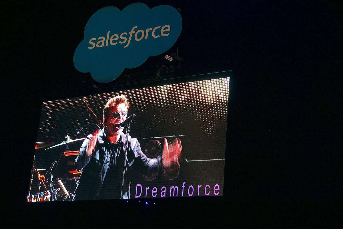 Lead U2 singer Bono on one of many big screens at Concert for the Kids at the Cow Palace. Oct. 2016.