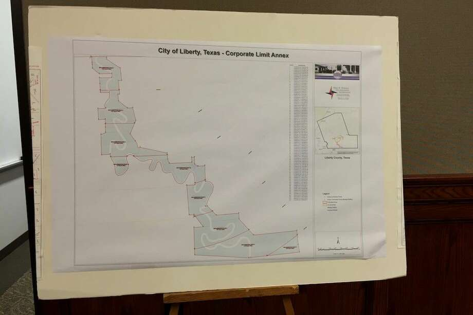 Shown here is a map of the area subject to the City of Liberty's proposed annexation of land south of town along the Trinity River to Moss Bluff. Photo: Casey Stinnett