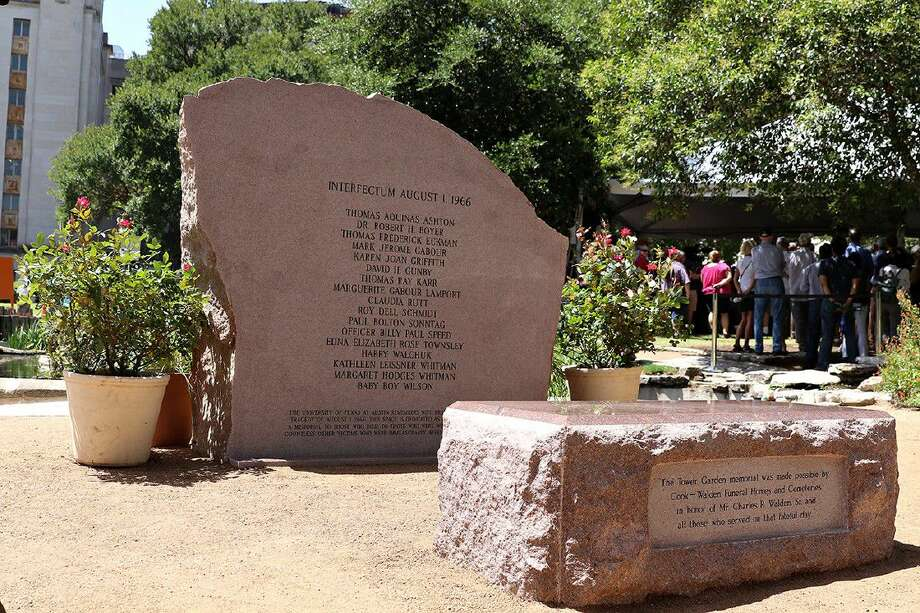 The 1966 Tower Shooting memorial on the North Side of the University of Texas at Austin tower commemorates those who lost their lives in the shooting 50 years earlier.