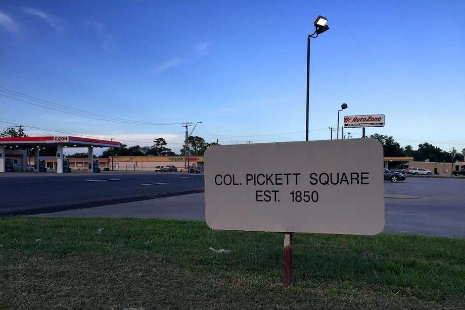 """Between O'Reilly's Auto Parts and AutoZone in Liberty, Texas, half a block west of the Bowie Street and US 90 intersection, stands a sign reading, """"Col. Pickett Square est. 1850."""" Nothing on the sign indicates who put it there, or why, but whatever was on that site in 1850, the sign marks the approximate location of a baseball park known for decades as Pickett Field. In the 1890s, a local newspaper often called it Lund's Lake Park. Photo: Casey Stinnett"""