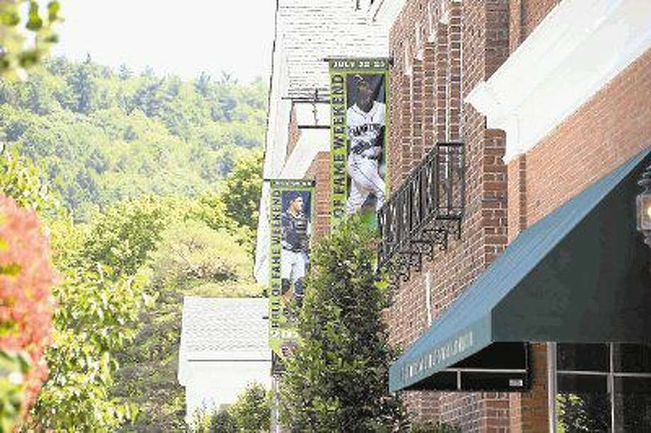 Banners representing 2016 National Baseball Hall of Fame inductees Ken Griffey Jr. and Mike Piazza stood in scenic Cooperstown, New York, prior to the induction ceremony. The Hall of Fame has held an induction ceremony almost every year since 1936. Photo: Craig Moseley