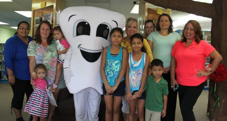 Lulu the Loose Tooth also paid a visit to the Shepherd Public Library. Lulu is the new mascot for ABC Dental. Photo: Jacob McAdams